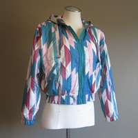 vintage 80s Jacket / Navajo Print Windbreaker / Cropped Tiny Fit Coat / Southwestern