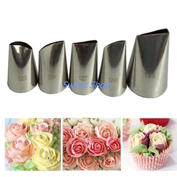 5pcs Stainless Steel Nozzle Set Cake Decorating tips Set Cream Pastry nozzles Baking Tools Bakeware Set