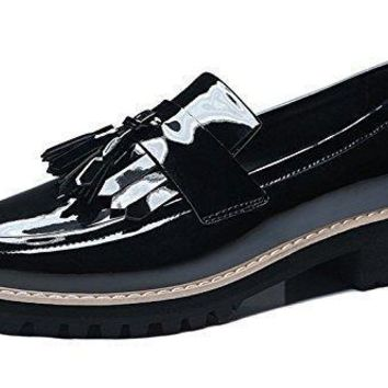GUCIHEAVEN Women's Slip On Walk Shoes Patent Leather Loafers Flats
