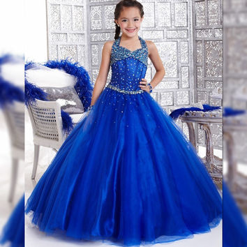 satin beading blue pageant dresses for girls prom dresses for junior children flower girl dresses royal blue