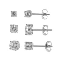 Sterling Silver Cubic Zirconia Round Stud Earring Set (White)