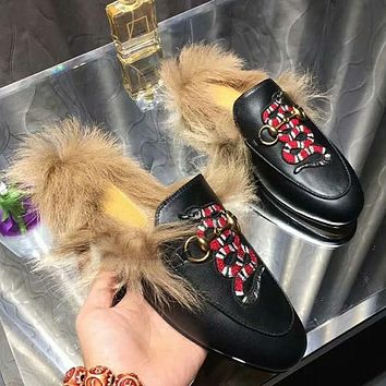 GUCCI Embroidery Women Fashion Leather Mules Shoes