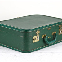 Suitcase, Mid Century Green Suitcase, 1950's Suitcase, Old Suitcase, Luggage, Old Suitcase