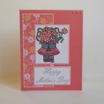 Mother's Day Card, Paper Handmade Greeting Card, Handmade Card, Happy Mother's Day, Mother's Day Gift, For Her, Card For Mom, Pink