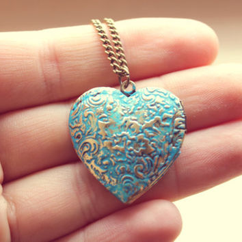 Retro Vintage, Blue Locket Heart Neckace - Free Shipping - Made to order :)