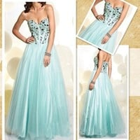 Attractive Blue Sweetheart Neckline Floor Length Prom Dress/Graduation Dress