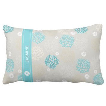 Coral Reef and sand dollar beach theme personalize Lumbar Pillow