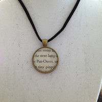 Harry Potter Book Page Pendant Necklace - Put-Outer, Bezel Glass, Book Jewelry