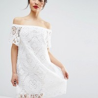 ASOS PREMIUM Lace Off Shoulder Dress at asos.com