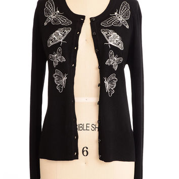 Death's Head Moth Embroidered Cardigan