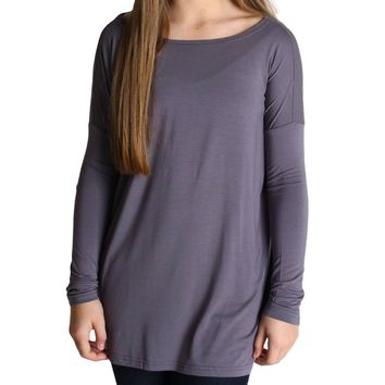 Charcoal Grey Piko Kids Long Sleeve Top