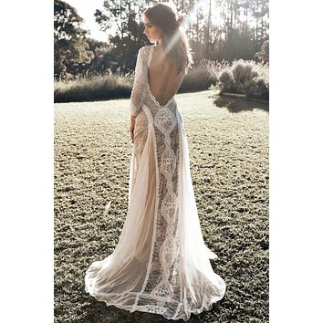 Dreamy Long Sleeve Floral White Lace Wedding Party Dress
