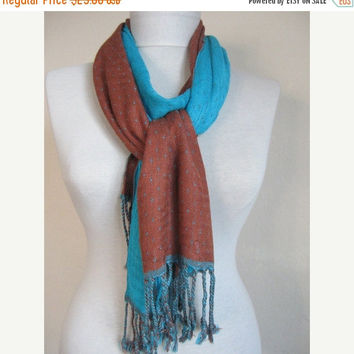Double-layered Scarf / Two Sided Scarf / Blue -Brown / Blue scarf / Brown scarf / long scarf