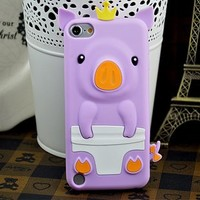 Multi-Colors Cute Happy 3D Pig Crown CROWNED PIG Silicone Gel Case Cover For iPod Touch 5 touch5/ 5G /5th Gen Generation (purple)