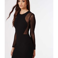 Missguided - Georgiana Crepe Mesh Long Sleeve Bodycon Dress Black