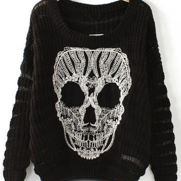 Skull Cutout Sweater