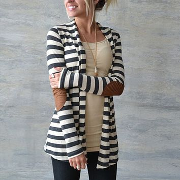 Women Striped Cardigan With Patched Elbow Detailing