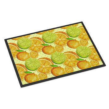 Watercolor Limes and Oranges Citrus Indoor or Outdoor Mat 18x27 BB7517MAT