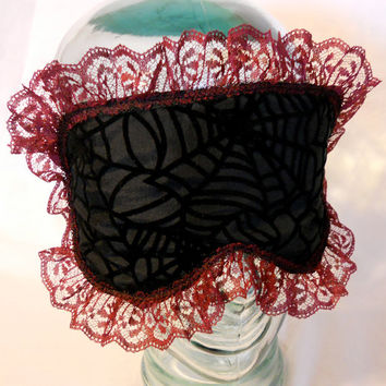Satin Lined Sleep Mask - Burlesque Goth Horror Black Velvet Spider Webs Vintage Burgundy Lace Trim - Elvira Morticia Adams - Bath and Beauty
