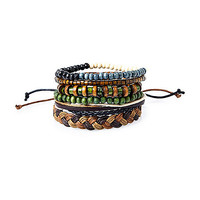 River Island MensGreen beaded bracelet pack