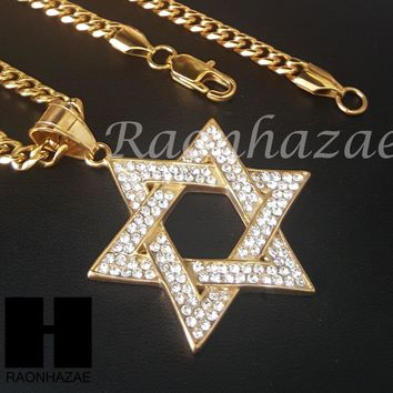 Iced Out 316L Stainless steel Gold 6 Point Star Pendant Miami Cuban SS034
