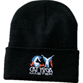 Cat Yoga Master Wht -One Size Fits Most Knit Cap