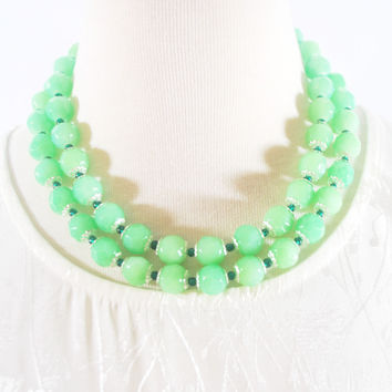 Green Double Strands Faceted with Emerald Ascent Necklace