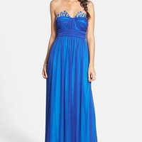 Way-In Embellished Strapless Mesh Gown (Juniors)