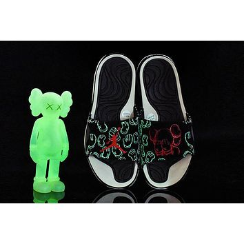 kaws x air jordan hydro 4 cool black sliper sandals 930155 011