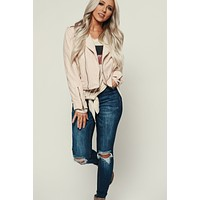 Sweet Thing Faux Suede Jacket (Blush)