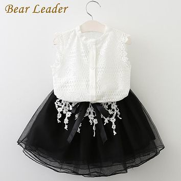 Girls Dress Casual Girls Clothes Sleeveless White Lace T-shirt+Girls Dress for Kids Clothes