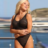 Summer Comfortable High Quality Sexy Stripes See Through Sleeveless Swimwear [4970292036]
