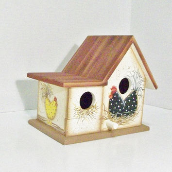 Hand Painted Birdhouse With Chickens