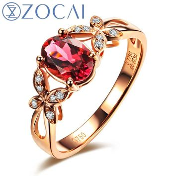 ZOCAI ZODIAC GEM FIRE SIGNS BUTTERFLY CONCERTO 0.6CT RUBELLITE RED TOURMALINE DIAMOND RING OVAL CUT 18K ROSE GOLD