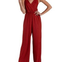 Cardinal Strappy Backless Wrap Jumpsuit by Charlotte Russe