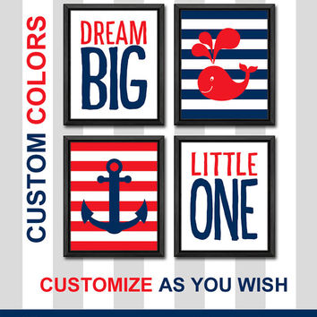 nautical dream big little one custom nursery gift ideas baby boy nursery ideas striped boy decor boys room decor kids room decor whale decor