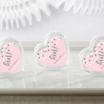 Personalized Heart Favor Container - It's a Girl! (Set of 12)