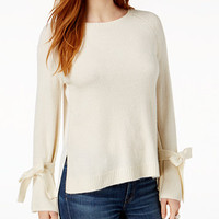 Kensie Mixed-Media Tie-Cuff Sweater | macys.com