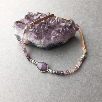 Gemstone Choker, Leather Choker, Plum Purple Necklace, Fall Jewelry, Boho Gypsy Jewelry, Purple Labradorite Necklace, Birthday Gifts For Her