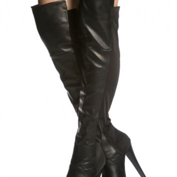 Black Faux Leather Two Tone Knee High Platform Boot @ Cicihot Boots Catalog:women's winter boots,leather thigh high boots,black platform knee high boots,over the knee boots,Go Go boots,cowgirl boots,gladiator boots,womens dress boots,skirt boots.
