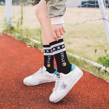 Winter Women All-match Fashion Sport Casual Cute Smiley Letter Star Cotton Semi-High Short Socks