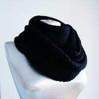 Handmade Knitting Infinity Scarf - Cotton Yarn - Black - Winter Autumn Scarf - Men Unisex Scarf