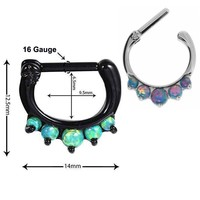 1PC Lacey Opal Gem Nose Ring Titanium Shaft 16G 1.2mm Real Septum Clickers Hanger Septum Ring Rook Clicker Body Piercing Jewelry