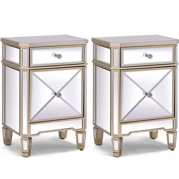 2 PC Modern Beveled Mirrored Finish Storage Nightstands- Home Accent Furniture