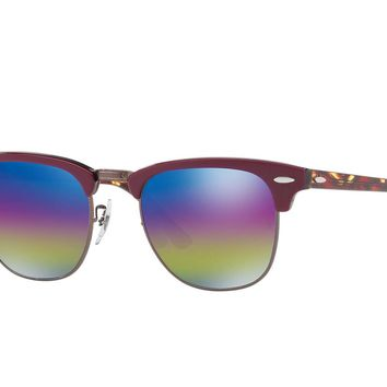 Ray Ban Clubmaster Blue Rainbow Flash Men's Sunglasses RB3016 1222C2 49