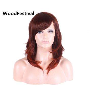 WoodFestival Hot Sexy Reddish Brown Synthetic Wig With Bangs