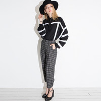 Striped Bishop Sleeve Chiffon Blouse