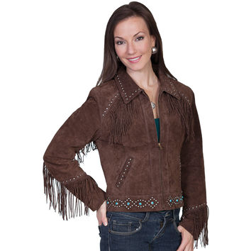 Scully Womens Chocolate Studded Fringe Suede Jacket