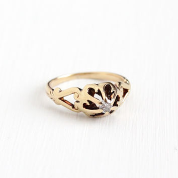 Antique Art Nouveau 14k Rose Gold .14 Carat Diamond Ring - Vintage Edwardian Size 7 Raised 6 Prong Belcher Solitaire Engagement Fine Jewelry