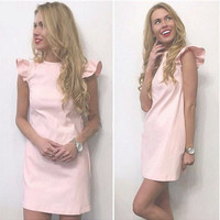 Pink Flounced Shoulder Sleeveless Mini Dress